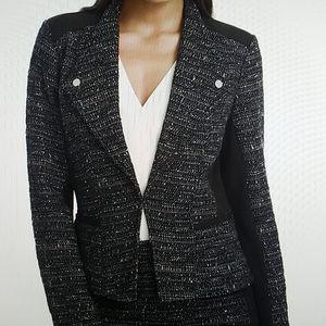 Tweed Jacket w/ Ponte-Inset & Moto Zippers